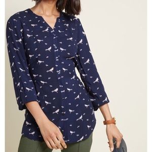 Medium navy bird print blouse by ModCloth
